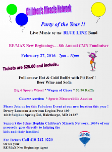 ReMax New Beginnings announces: Children's Miracle Network Dance @ Dewey Lowman American Legion Post 109 | Arbutus | Maryland | United States