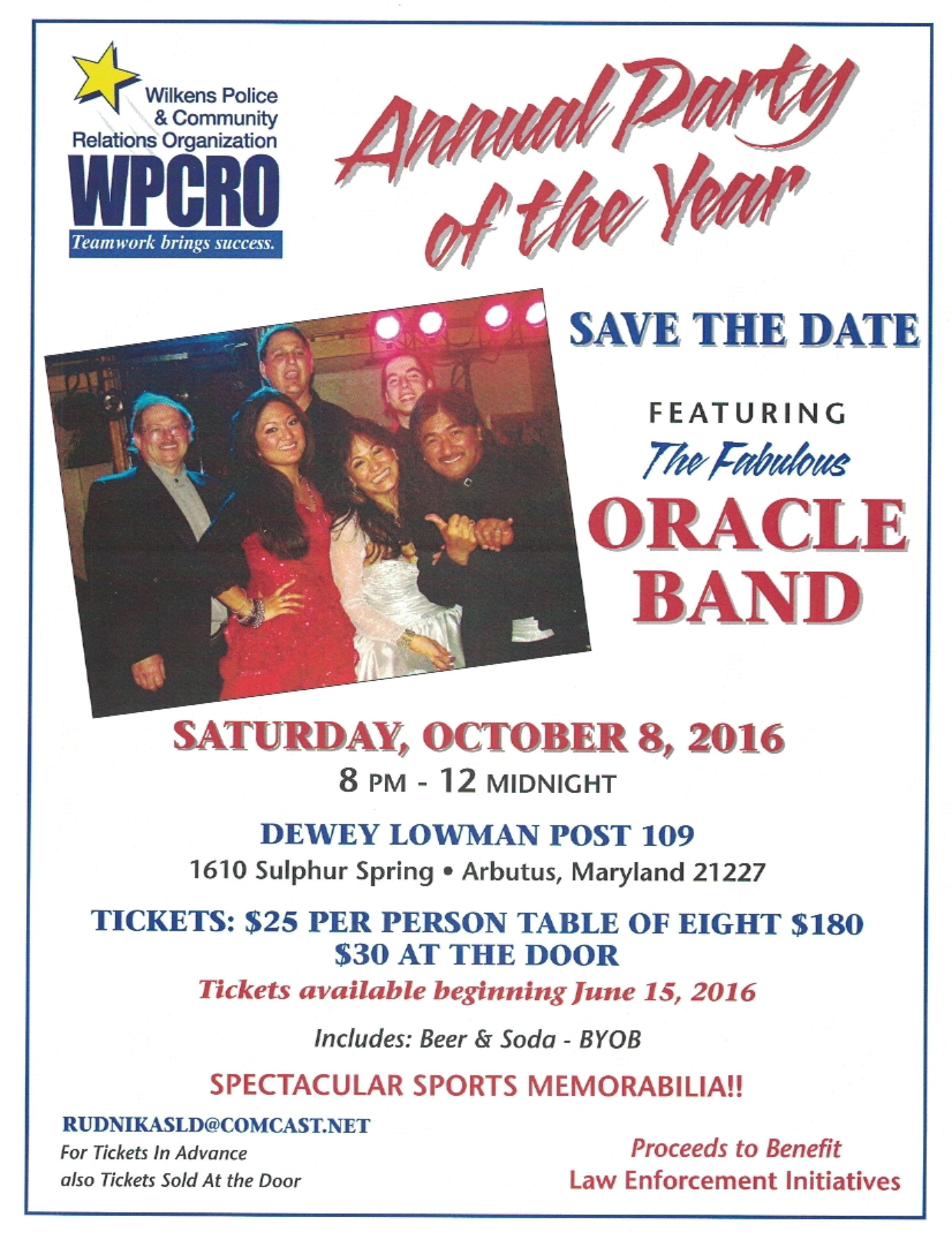 WPCRO Annual Party of the Year @ Dewey Lowman Post 109 | Arbutus | Maryland | United States