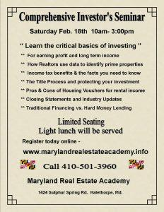 Free Real Estate Investor Seminar @ Maryland Real Estate Academy | Arbutus | Maryland | United States