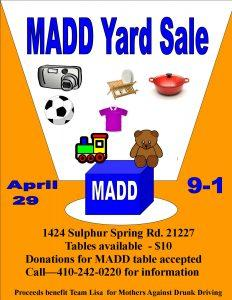 MADD Yard Sale @ RE/MAX New Beginnings Real Estate Co | Arbutus | Maryland | United States