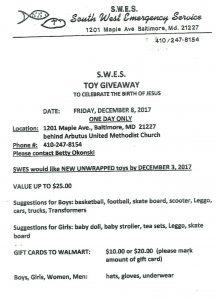 S.W.E.S. Toy Giveaway @ Behind Arbutus United Methodist Church | Hamilton | Ohio | United States